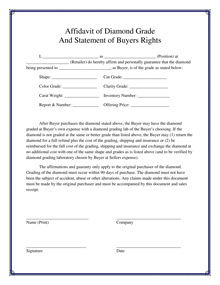 Affidavit of Diamond Grade And Statement of Buyers Rights